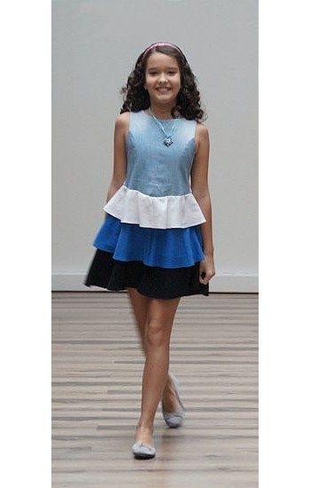 Fehér-kék-fekete pörgős kislányruha - Rethy Fashion