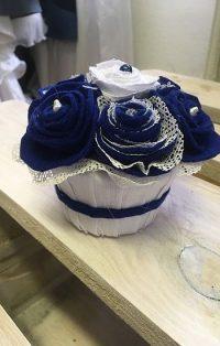 Asztaldísz textil virágokból - Rethy Fashion